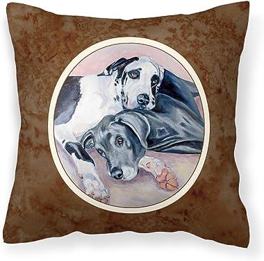 Caroline's Treasures 7164PW1414 Black and Harlequin Great Dane Fabric Decorative Pillow, 14Hx14W, Multicolor