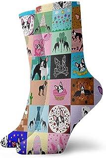 Dydan Tne, Niños Niñas Locos Divertidos Locos Faux Boston Terrier Calcetines Lindos de Vestir de Novedad