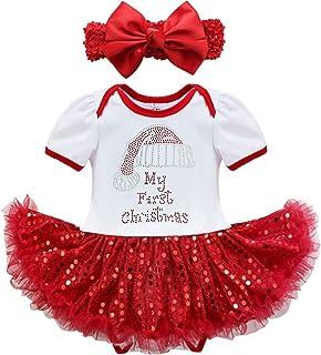 c89a004d59efa YiZYiF Bébé Fille Vêtement de 1er Anniversaire Noël Barboteuse de Baptême  Tutu Robe à Paillettes Body