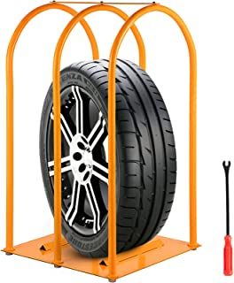 VEVOR Tire Inflation Cage, 3-Bar Tire Cage, Heavy-duty Car Tire Inflation Tool with A Tire Changer, Tire Inflation Accessories, Rugged Steel Frame Portable Tire Cage 565 x 675 x 1475 MM