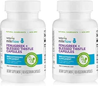 UpSpring Milkflow Fenugreek and Blessed Thistle Capsules for Breastmilk Supply, 200 Count Lactation Supplement Pills