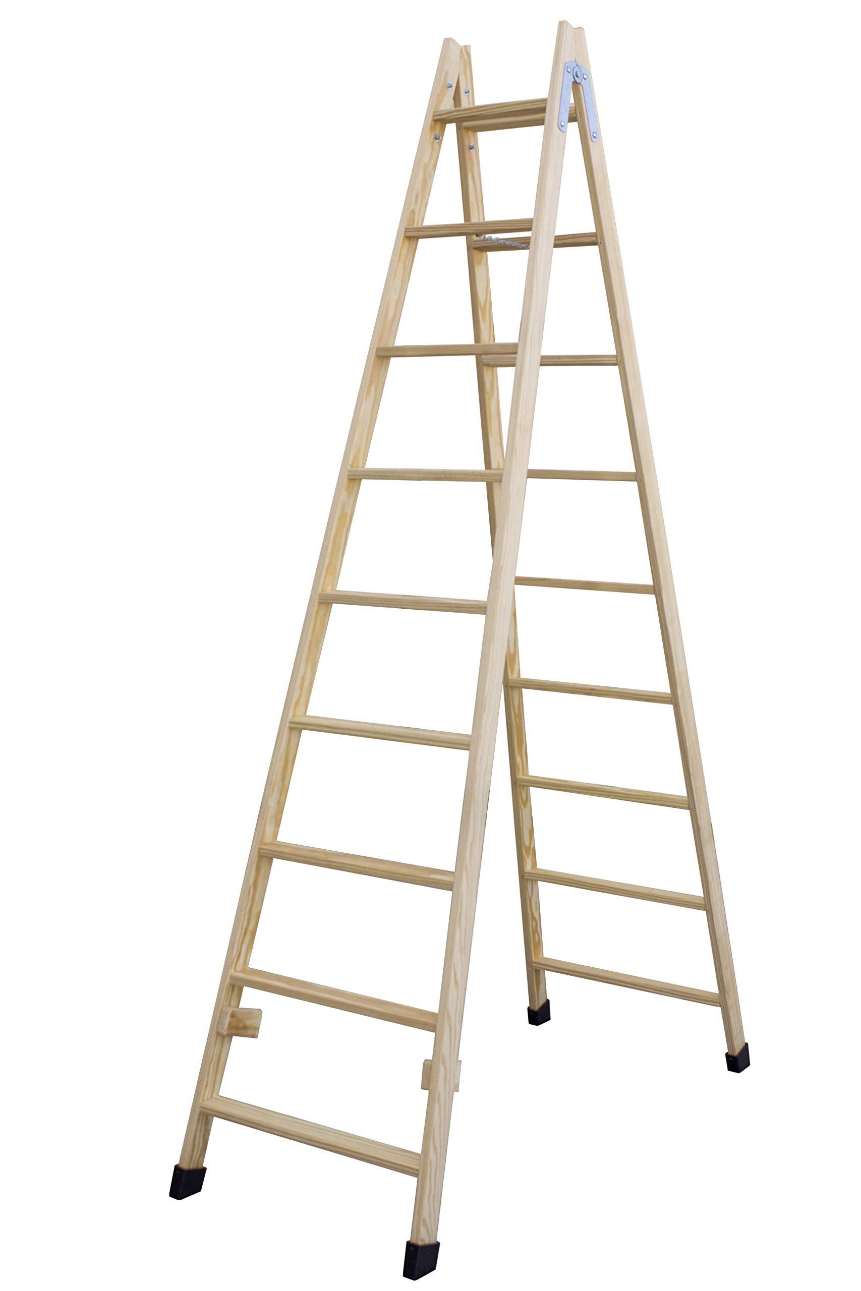 Escalera de tijera de madera con peldaño ancho de 54 mm. Fabricada en pino marítimo sin barnizar. (9 peldaños): Amazon.es: Bricolaje y herramientas