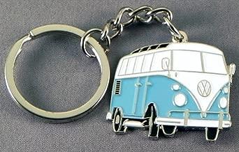 Metal Enamel Keyring Transporter Campervan (Light Blue Camper Van)