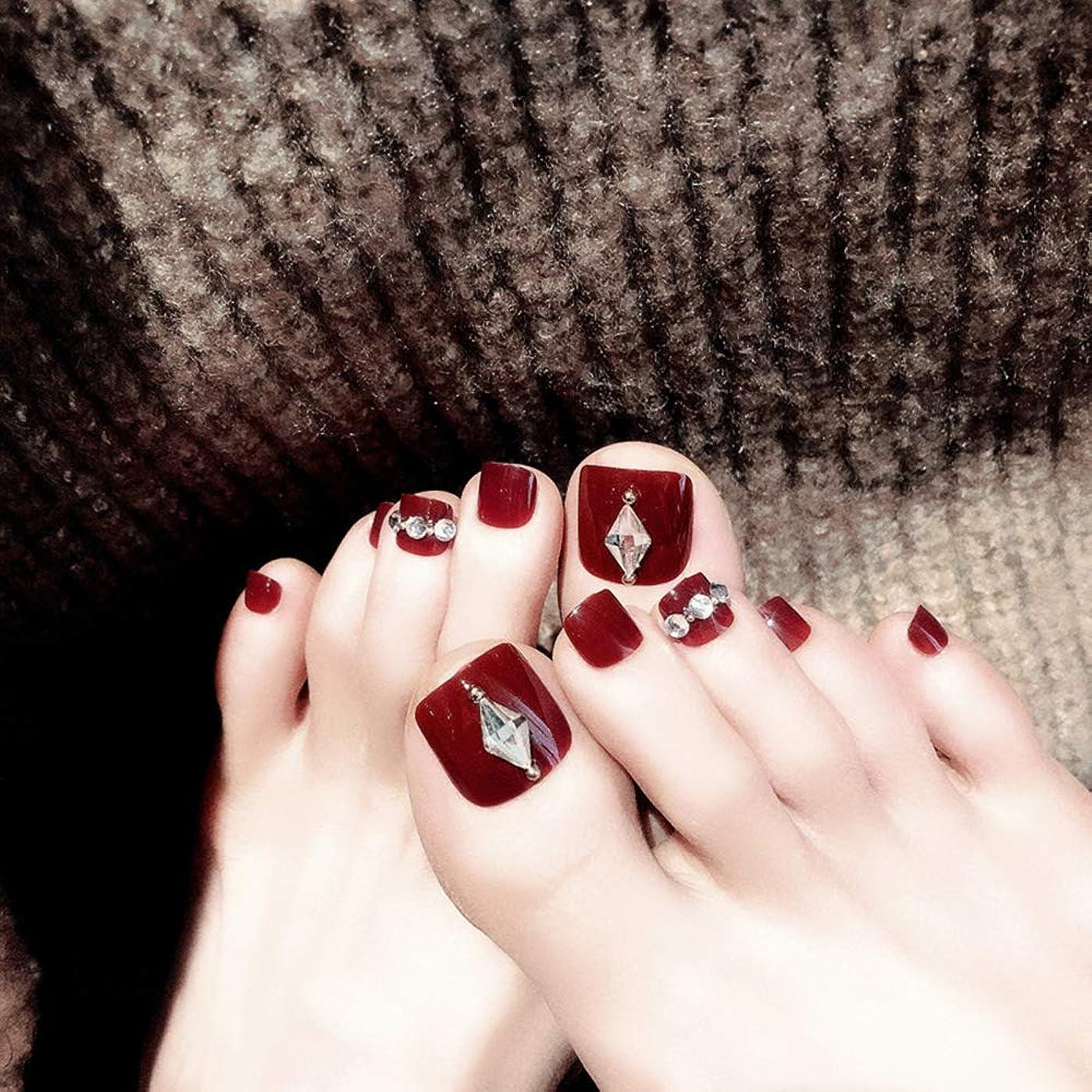 XUTXZKA 24ピース赤ワインつま先偽爪付き人工ダイヤモンドファッションつま先偽爪のための結婚式や毎日のステッカー