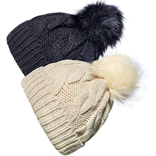 e65dbe7b9c2 YSense 2 Pack Baby Boy Girl Winter Warm Fleece Lined Hat Infant Toddler Kid  Crochet Hairball