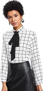 Women's Bow Tie Neck Ruffle Long Sleeve Chiffon Shirt Blouse Top