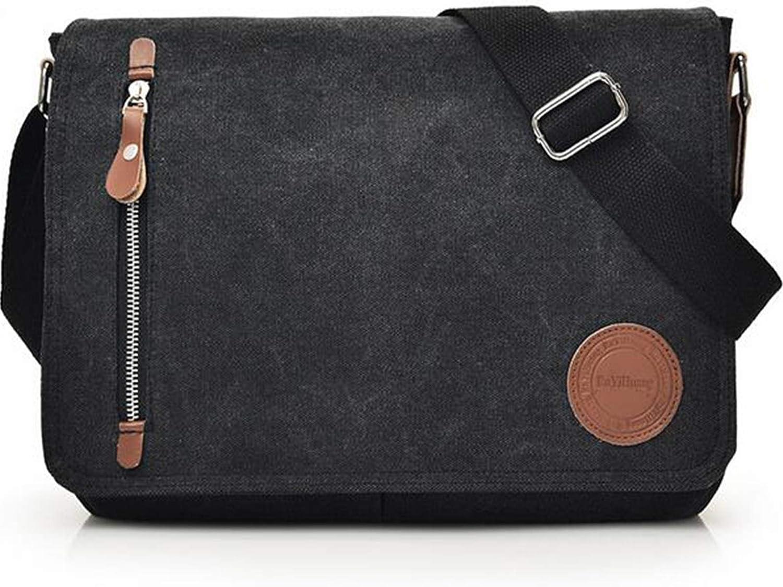 Vintage Canvas Satchel Messenger Bag for Men Women, Travel Shoulder bag Satchel Crossbody School Bag for 11.6-13.3 inch Laptop Chromebook computer(Black)
