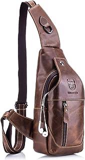 BULLCAPTAIN Genuine Leather Men Bags Shoulder Sling Crossbody Bag Casual Mens Chest Bag Travel Hiking Backpack