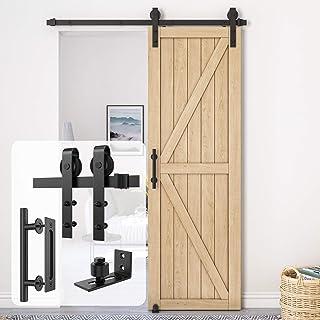 """Best Homlux 5ft Heavy Duty Sturdy Sliding Barn Door Hardware Kit Single Door Whole Set Include 1x Round Door Handle, 1x Floor Guide - Fit 1 3/8-1 3/4"""" Thickness Door Panel(Black) Review"""