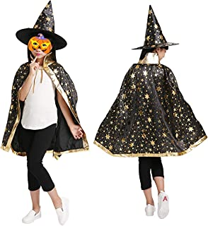 LeHom Halloween Cloak Kids, Halloween Costumes Witch Wizard Cloak with Hat Party Cosplay Role Play Dress Up for Kids Child