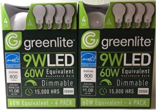 Greenlite - 8 pack - 9W LED Bulb 60W Equivalent- Dimmable A19