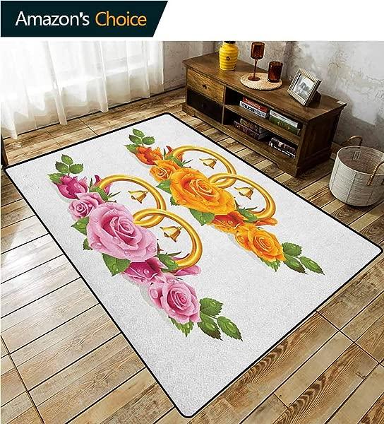 橙色和粉色佩斯利图案定制家居垫门垫一束玫瑰和戒指铃铛新鲜花瓣绿叶滴水易维护区域地毯客厅卧室地毯 2 5X9