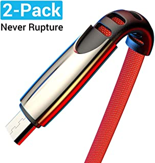 AINOPE Micro USB Cable Charger Android 2 Pack 6FT Fabric Braided Cord Fast Charging Compatible with Samsung Galaxy S7, S6,J7 Edge Kindle Note 5 LG PS4 and More High Speed Sync-Red