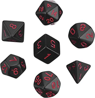 eBoot Polyhedral 7-Die Dice Set for Dungeons and Dragons with Black Pouch (Black)