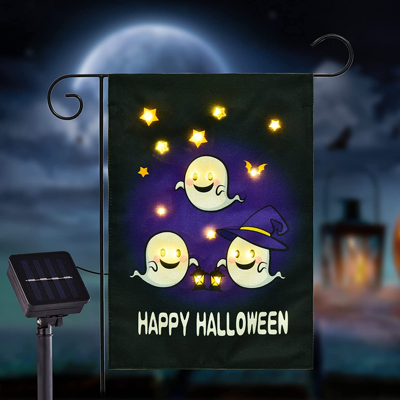 FLAGMESAGE Flashing Happy Halloween Garden Flag, Lovely Ghosts LED Lighted Flag 12