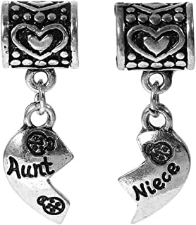 Set of 2 Pcs Heart with Aunt and Niece Dangle Charms Bead for Snake Chain Charm Bracelet
