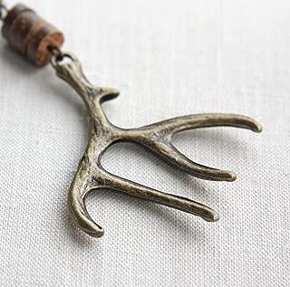 Elk Antler Keychain Antiqued Bronze Deer Woodland Gift for man Hunt Unisex Gift Coconut Wood Heishi Beads Custom Keyring Handmade and Crafted by KapKaDesign