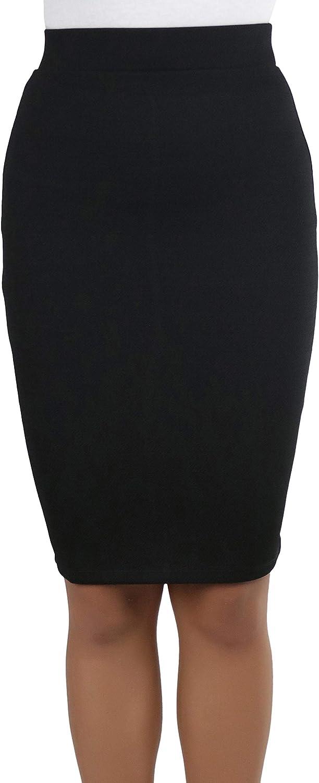 ToBeInStyle Women's Solid Color Flirty Back Slit Professional Formal Pencil Skirt