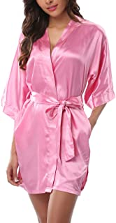 Women's Satin Kimono Robes Short Silk Bathrobes Wedding Robes for Bridal Party