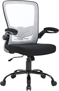 Mid Back Office Chair Ergonomic Desk Chair Mesh Computer Chair Back Support Modern Executive Metal Base Rolling Swivel Chair for Women&Men, White