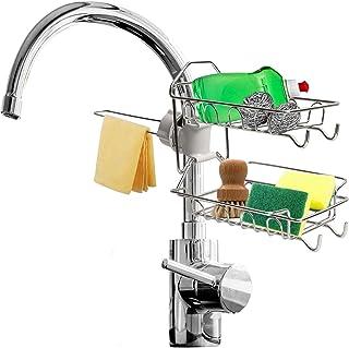 Nasco International Kitchen Faucet Sponge Holder for Kitchen Sink- 2 Tier Premium Stainless Steel Sink Caddy Dish- Suction...