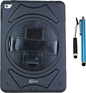 Cellular360 Shockproof Case for iPad Air 2, Protective and Handy Case with 360 Degrees Rotatable Kickstand and Leather Handle (Black)