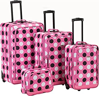 Rockland Escape 4-Piece Softside Upright Luggage Set, Pink Dots, (14/19/24/28)