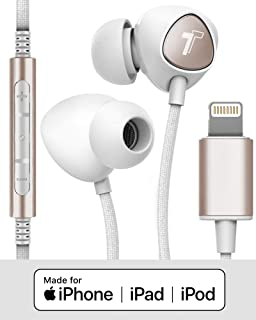 Thore iPhone Headphones with Lightning Connector (V110) Apple MFi Certified In Ear Wired Braided iPhone Earphones (Sweat/W...