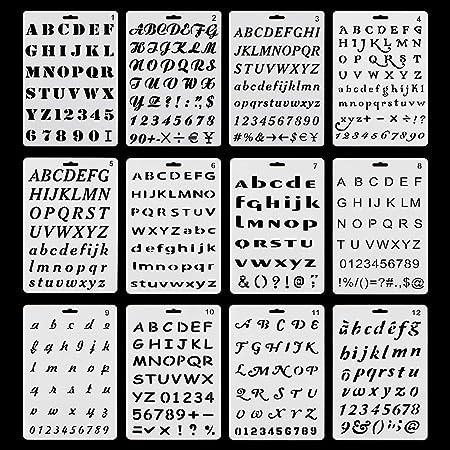 RtottiM Lot de 12pcs Pochoirs Lettres et Chiffres avec 12 Types de Caractères Différents Pochoir Alphabet Réutilisable Pochoir de Peinture en Plastic pour Scrapbooking Carte d'Anniversaire