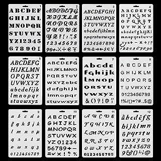 RtottiM Lot de 12pcs Pochoirs Lettres et Chiffres avec 12 Types de Caractères Différents Pochoir Alphabet Réutilisable Poc...
