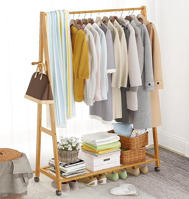 Coat Rack Simple Coat Rack Solid Wood Bedroom Hanger Floor Rack Storage Rack Simple Modern Clothes Rack (Size   60CM)