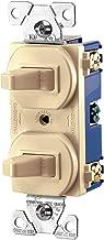 EATON 271V-BOX Arrow Hart 271V Duplex Grounding Toggle Switch, 120/277 Vac, 15 A, 1 Pole, Ivory