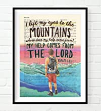 Vintage Bible Verse Scripture - I Lift My Eyes to the Mountains - Psalm 121 Christian Art Print, Unframed, Hiker Hiking Artwork, Christian Wall and Home Decor, All Sizes