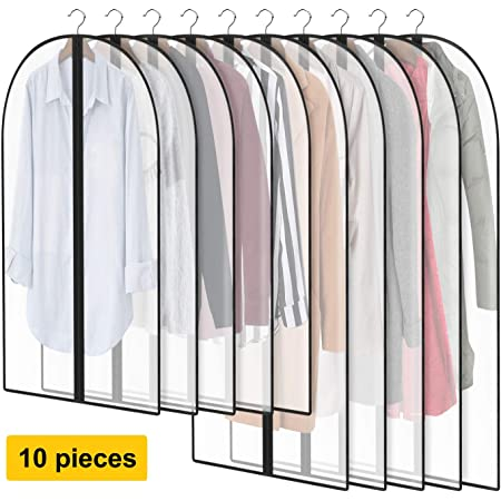 AIRGAME Hanging Garment Bag Lightweight Clear Full Zipper Suit Bags PEVA Moth-Proof Breathable Dust Cover for Closet Clothes Storage 24x40//12 Pack Free Bonus of 2pcs Grey Shoe Bag