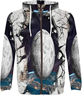 Men's Galaxy Space Hole in The Wall Full Zip Hooded Pullover Sweatshirt