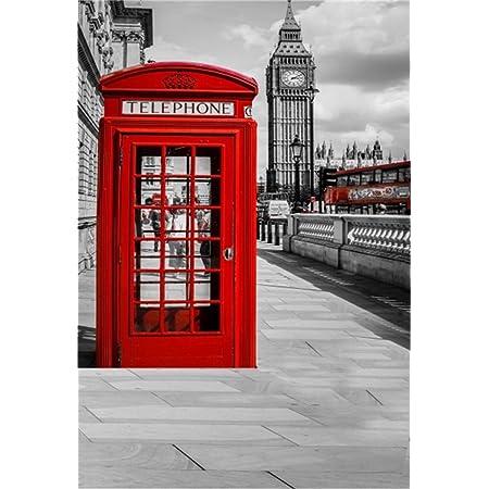 OFILA London Big Ben Photos Backdrop 8x8ft British Union Flag Telephone Booth Photography Background Photos Red Bus Westminster Abbey London Theme Party Decor London Landmark Photo Shoot