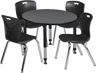 Regency TB42RNDGYAPBK40BK Kee Height Adjustable Classroom Table Set with Four 18