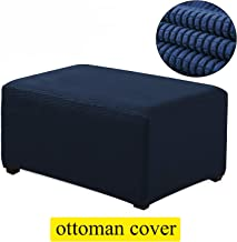 TIENCIY Oversized Ottoman Slipcover Sofa Spandex Jacquard Stretch Storage Protector Covers Ottoman Cover Furniture Protector for Living Room (Oversize, Blue)