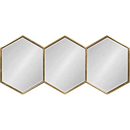 Amazon Com Kate And Laurel Royce Modern Glam Hexagon Trio Accent Wall Mirror 30x14 Gold Home Kitchen
