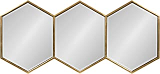 Kate and Laurel Royce Modern Glam Hexagon Trio Accent Wall Mirror, 30x14 Gold