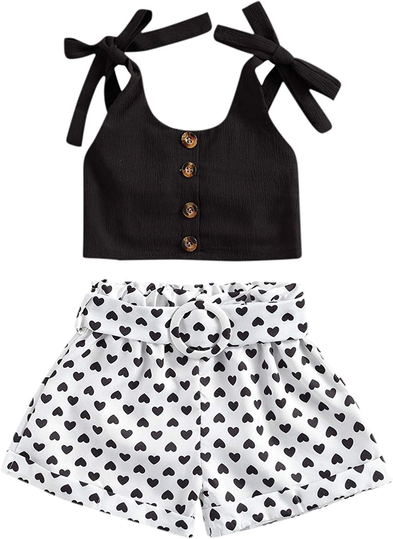 Toddler Kid Baby Girls Summer Shorts Outfits Sleeveless Strap Bowknot Crop Top Love Heart Belt Shorts Sets Clothes