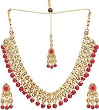 ZIKU JEWELRY Indian Bridal Ethnic Kundan Pearl Necklace Earrings Maang Tika Fashion Jewelry Set