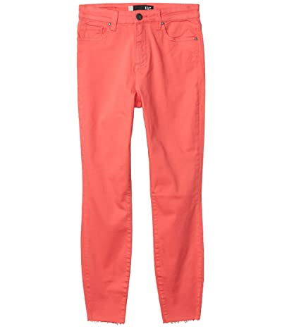 KUT from the Kloth Connie High-Rise Ankle Skinny with Raw Hem in Coral (Coral) Women