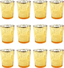 DGQ Gold Votive Candle Holders Set of 12 Mercury Glass Tealight Candle Holder for Wedding Decor and Home Decor