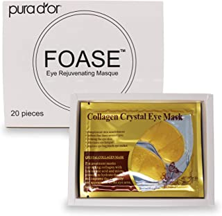 Foase Collagen Under Eye Patches - 24K Gold Hyaluronic Treatment Mask for Dark Circles, Eye Bags & Puffiness – 100% Natural Pads - 20 Pack (Packaging may vary)