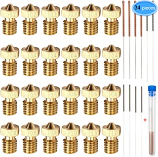 24 Pieces Extruder Nozzles M6 3D Printer Brass Nozzles Print Heads with 10Pcs Nozzle Cleaning Kits for 3D Printer Makerbot by EAONE, 6 Sizes Nozzles(0.2mm,0.3mm,0.4mm,0.5mm,0.6mm,0.8mm,1.0mm)