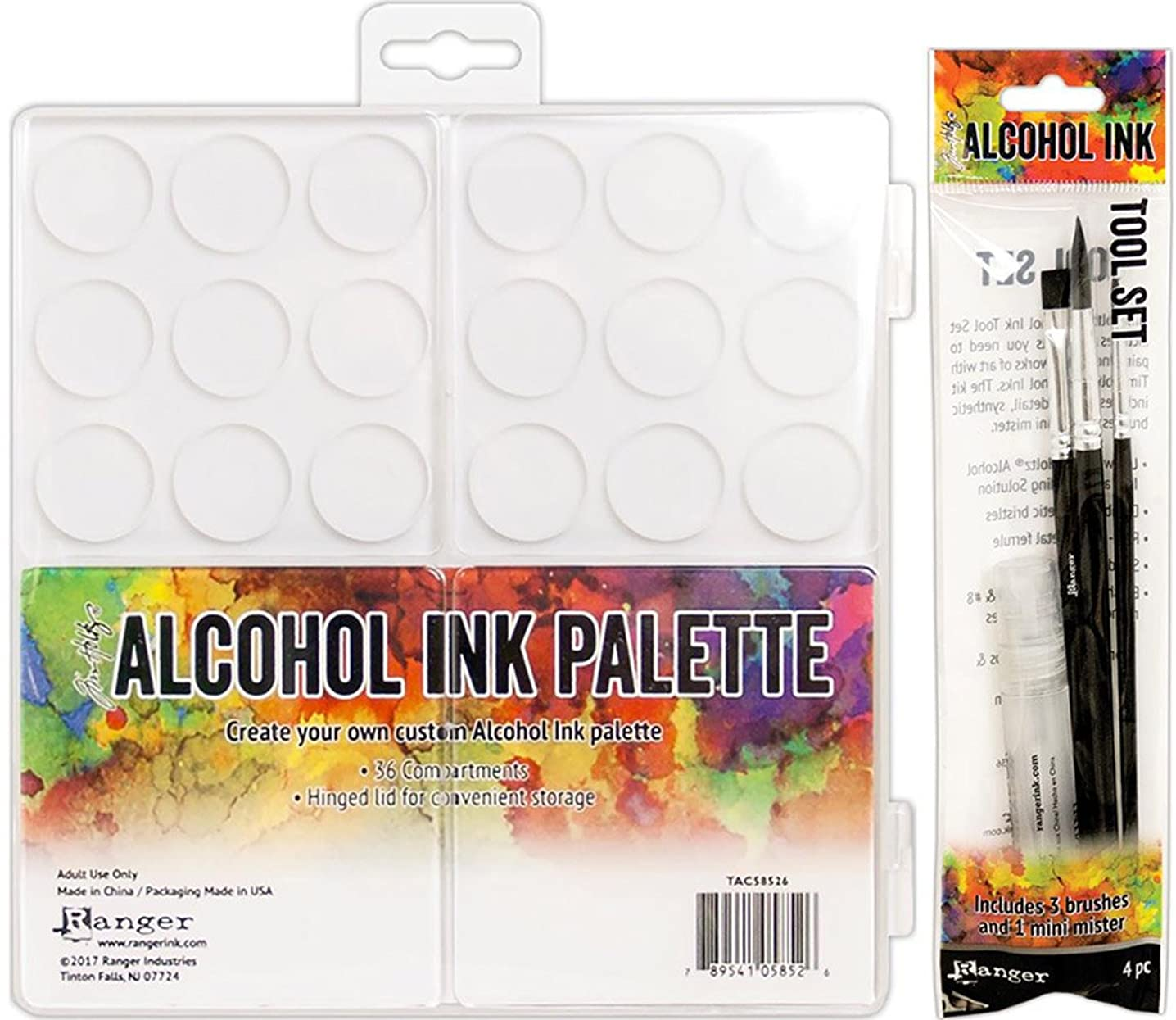 Tim Holtz Alcohol Ink Palette and Alcohol Ink Tool Set Bundle (Set of 2 Items)