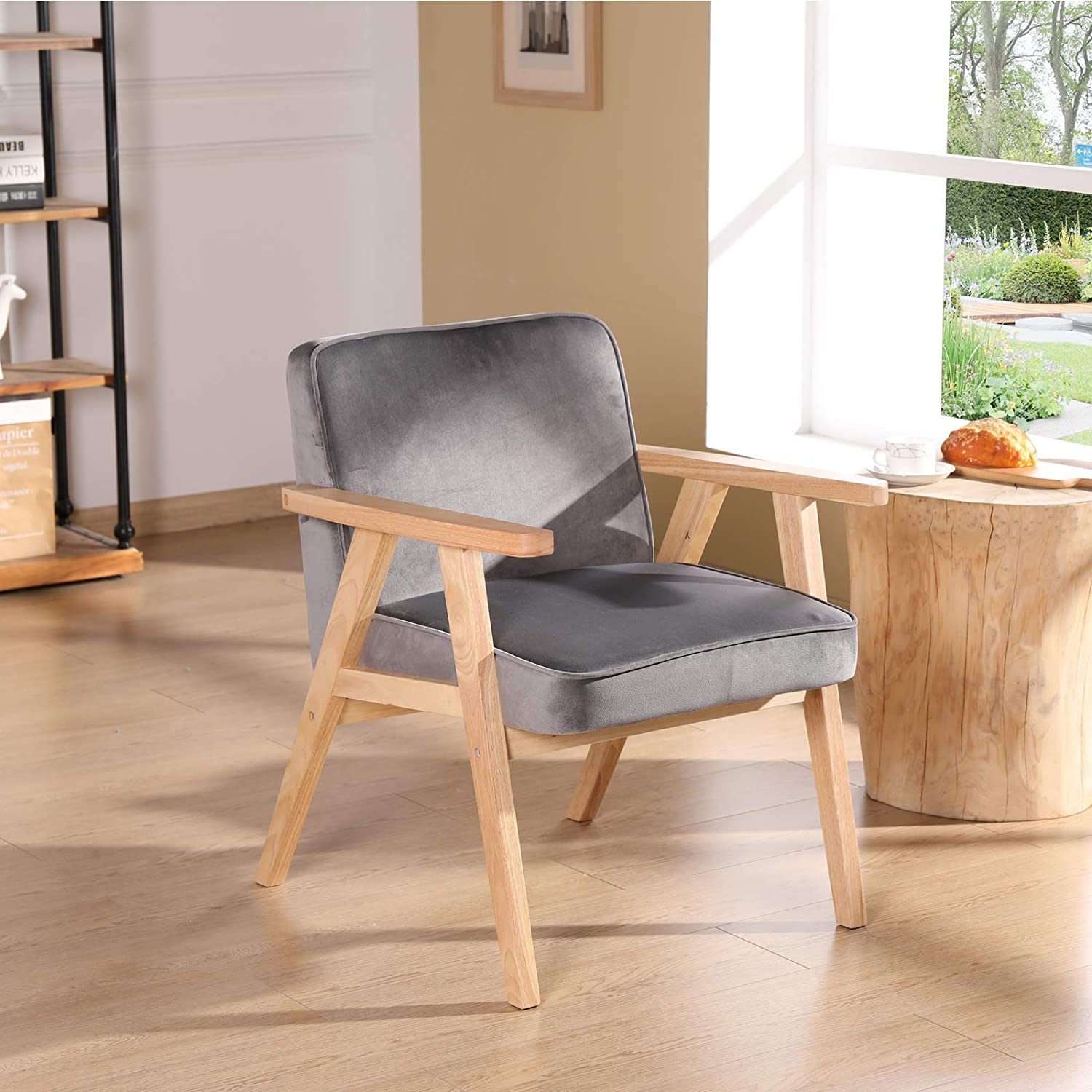 for Living Room Mid-Century Armchair with Espresso Wood Frames Faux Leather Upholstered Farmhouse Nursery Chair Bedroom Grey