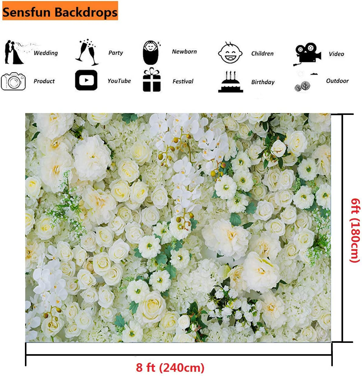XY021 Sensfun 8x6ft Valentines Day Photo Backdrop Wedding Backdrops Pink Red White Rose Flowers Wall Photography Background for Baby Shower Girl Children Artistic Portrait Photobooth Studio Props