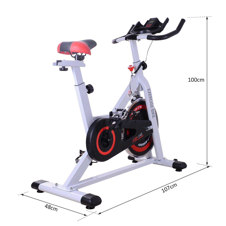 HOMCOM Bicicleta Estática Bicicleta de Fitness Pantalla LCD Asiento y Manillar Ajustable Resistencia Regulable Carga 120kg 107x48x100cm Acero Blanco: Amazon.es: Deportes y aire libre